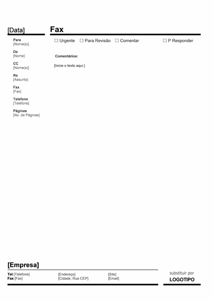 Folha de Rosto de Fax Comercial (Vermelho e Preto)