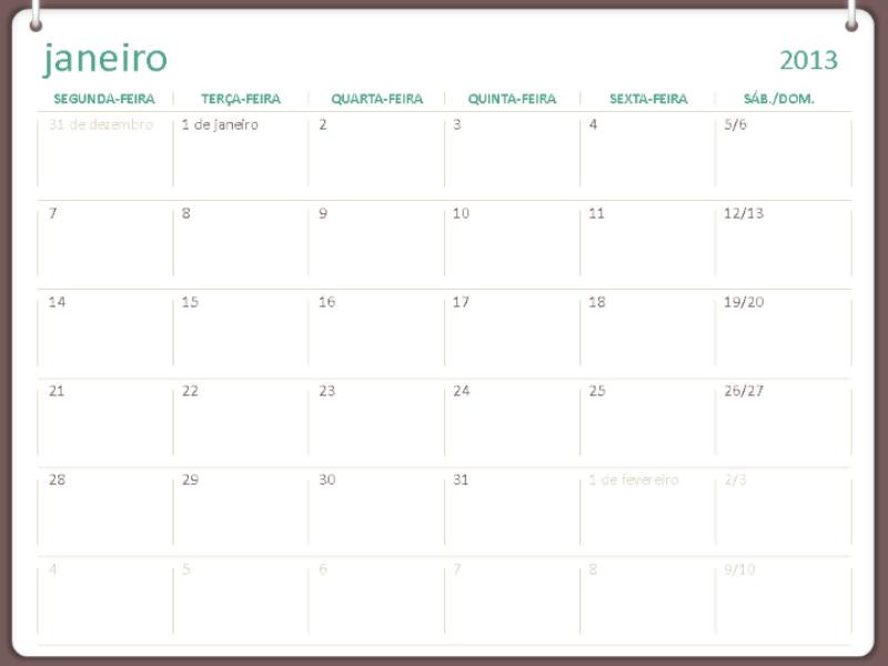 Design de calendário de 2013 de dois anéis (seg-dom)