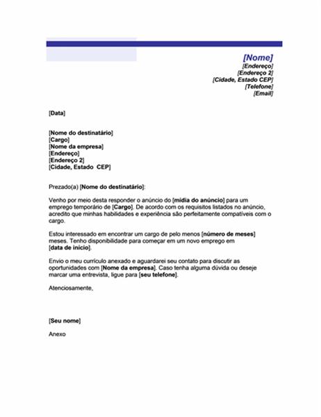Carta de apresentação para cargo temporário (tema Linha azul)