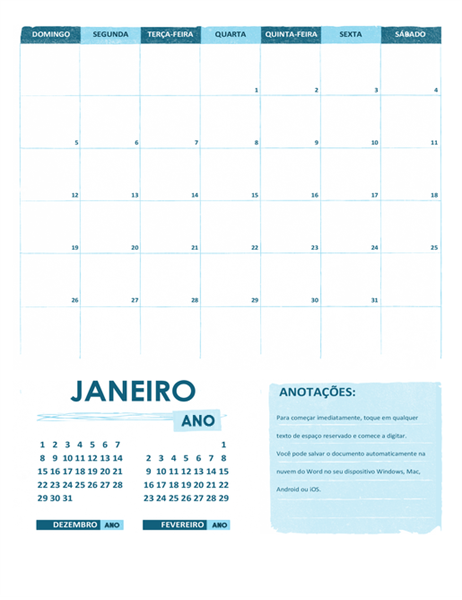 Calendário acadêmico (um mês, qualquer ano, começando no domingo)