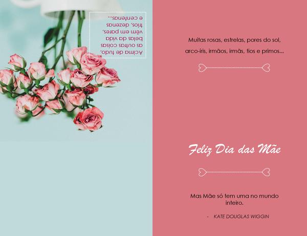 Cartão de Dia das Mães (com flor de papoula, dobra em quatro)