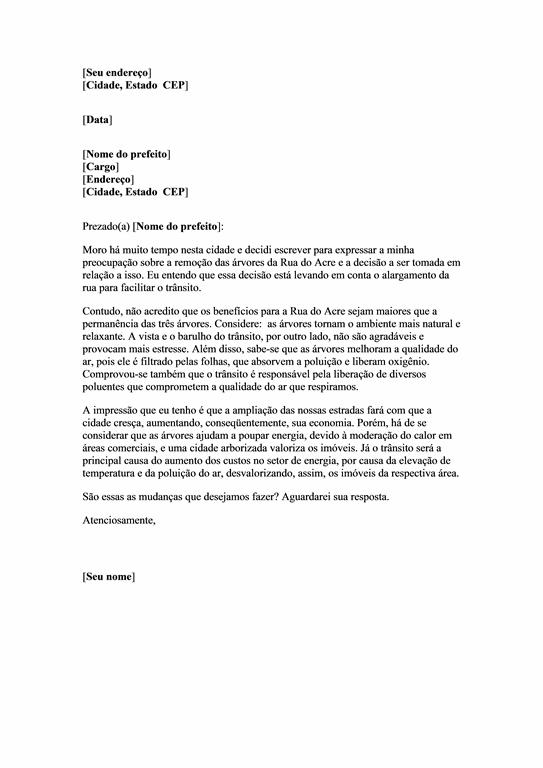 Carta oficial expressando preocupação
