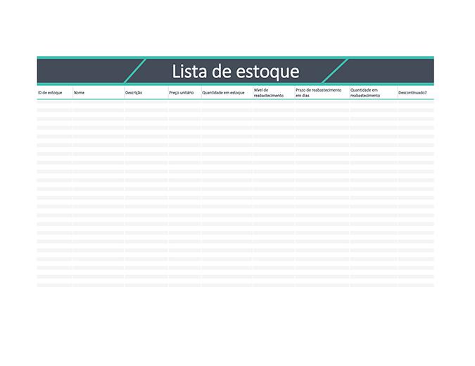 Lista de estoque