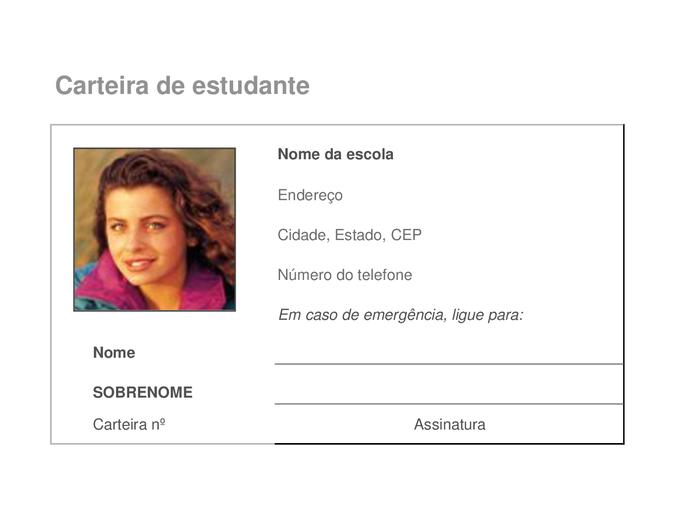 Cartão de identificação de estudante