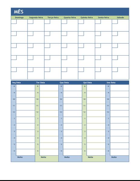 Calendário de planejamento mensal e semanal