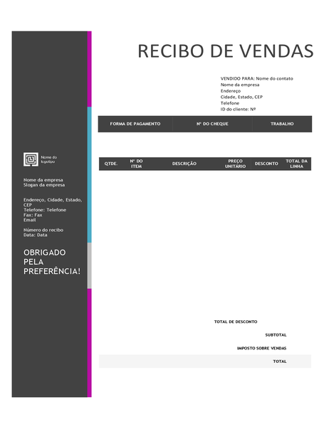 Recibo de vendas (design em gradiente de azul)
