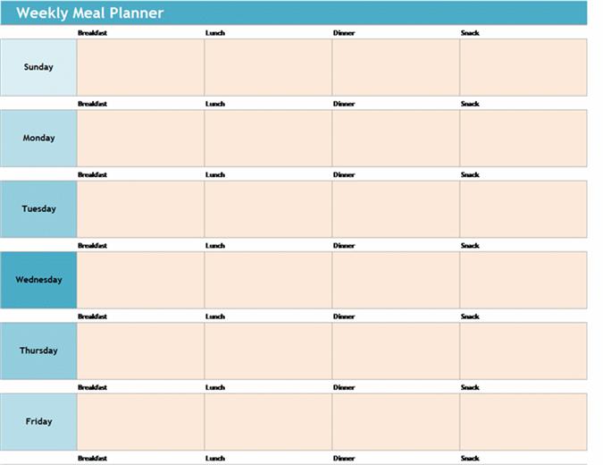 Planejador nutricional semanal