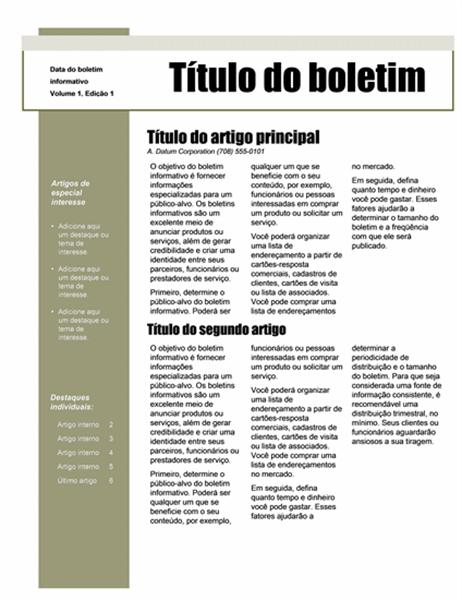Boletim informativo (tema Simples, 4 colunas, 6 páginas)