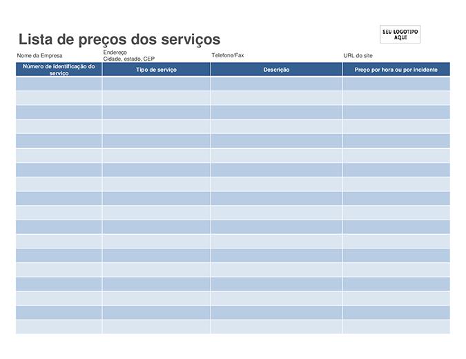 Lista de preços dos serviços