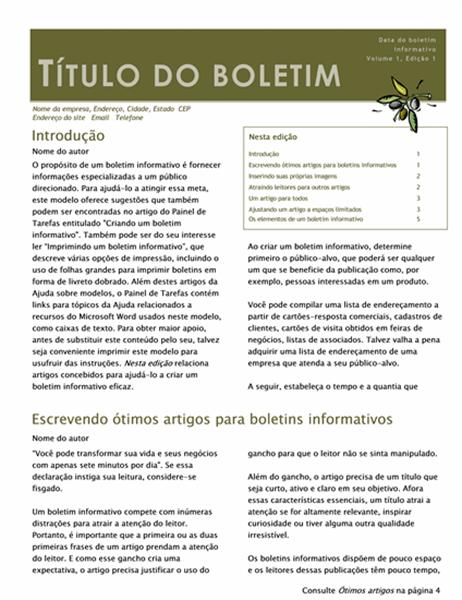 Boletim informativo comercial (2 col., 6 pp., mensageiro)