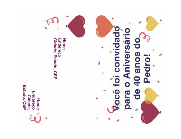 Convite de festa de aniversário (mensageiro, não é necessário envelope)