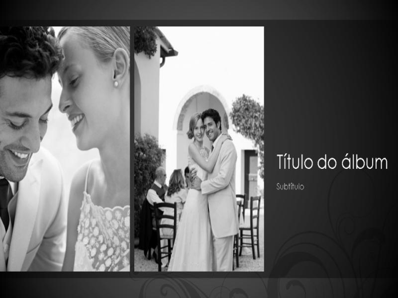 Álbum de fotos de casamento, design barroco em preto e branco (widescreen)