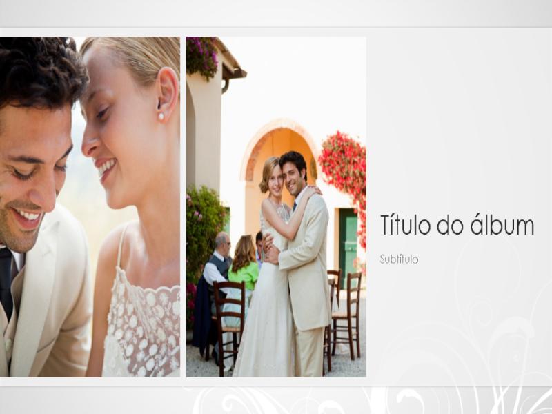 Álbum de fotos de casamento, design barroco na cor prata (widescreen)