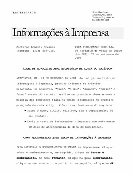 Informações à imprensa (tema Elegante)