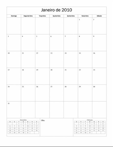 Calendário de 2010 (design básico, segunda a domingo)