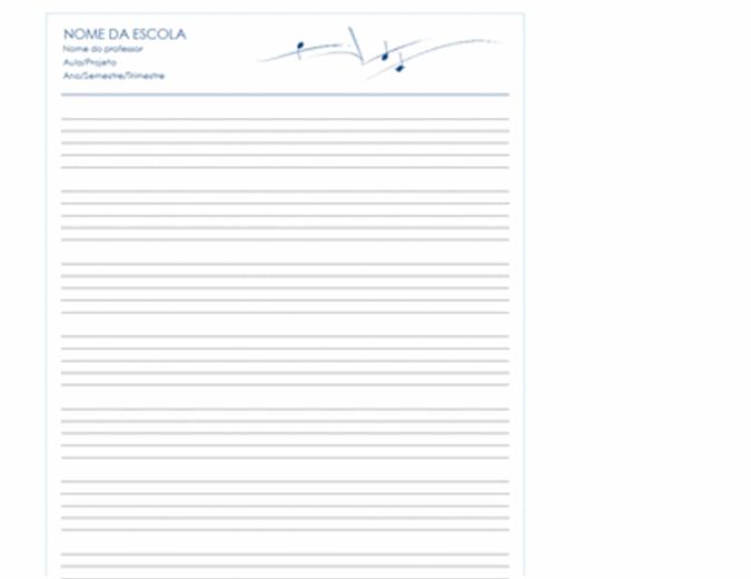 Papel de partitura genérico (retrato, 8 págs.)
