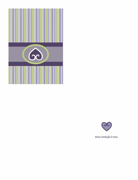 Cartão Amor (desenho em cor púrpura)