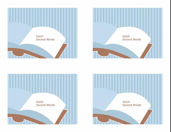 Cartões rápidos de vocabulário (segundas palavras de Dolch; verso; funciona com o Avery 3263, 8387)