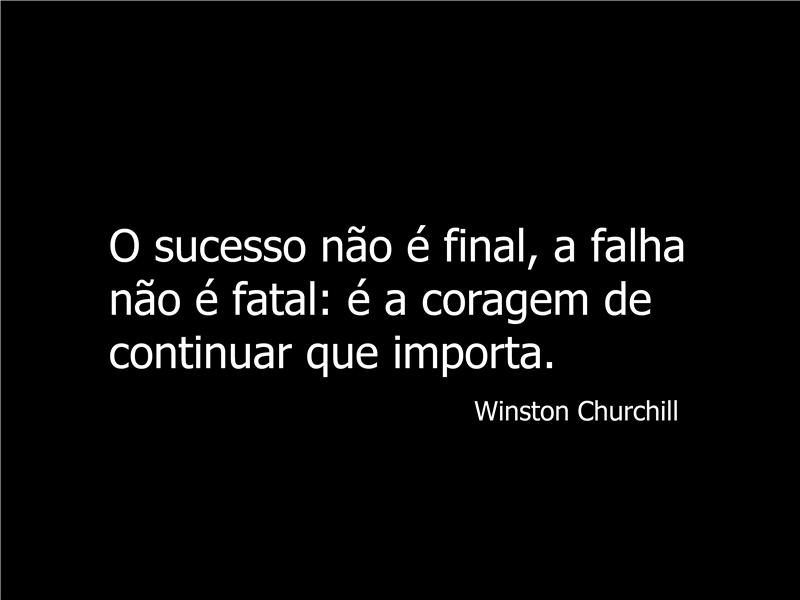 Slide com citação de Winston Churchill