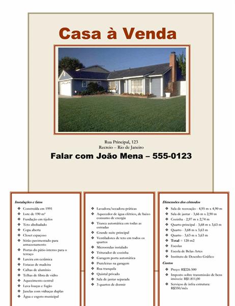 Panfleto de venda de imóvel com foto, mapa e layout de pavimento