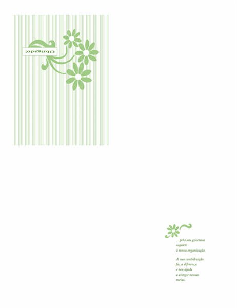 Cartão de agradecimento de levantamento de fundos