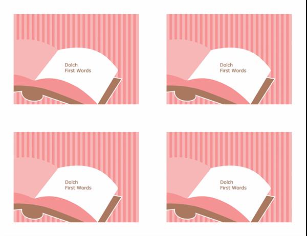 Cartões rápidos de vocabulário (primeiras palavras de Dolch; verso; funciona com o Avery 3263, 8387)