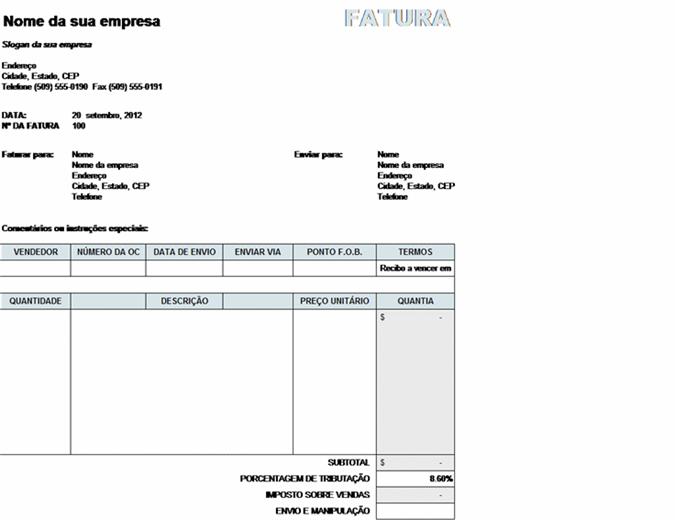 Fatura de vendas com cálculos de imposto, remessa e entrega