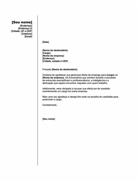 Recusa de uma oferta de emprego em prol de outra (tema Vertical)