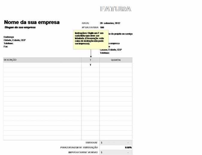 Fatura com imposto sobre vendas aplicado parcialmente