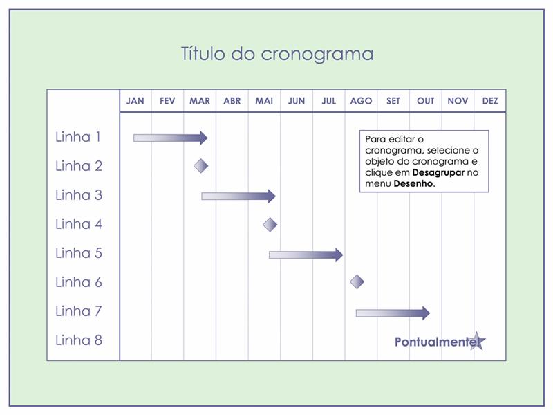 Cronograma para projeto de três meses com múltiplas camadas