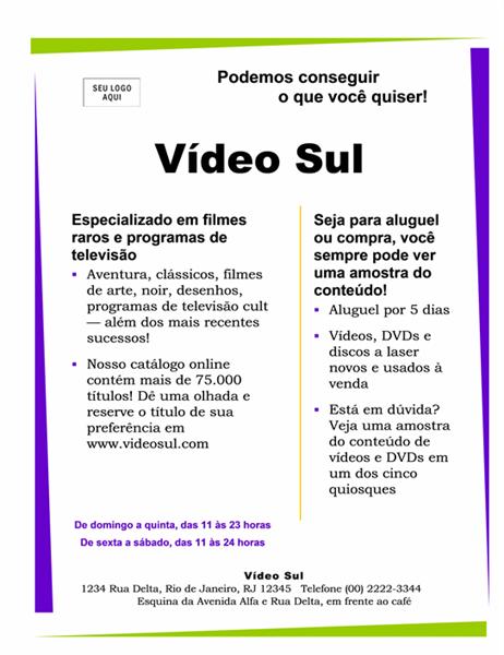 Panfleto comercial pequeno (22x28, um lado)