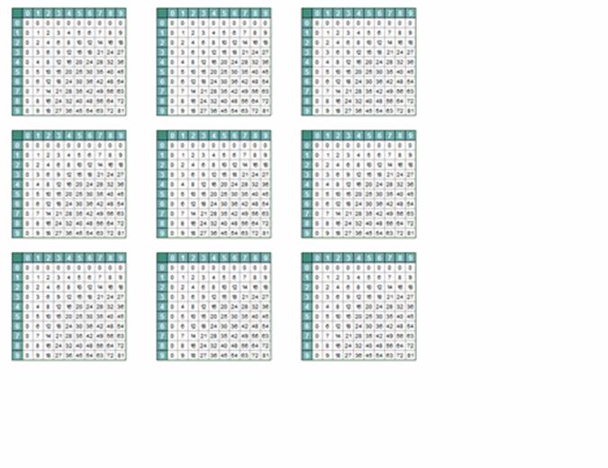 Tabelas de multiplicação (9/págs.)