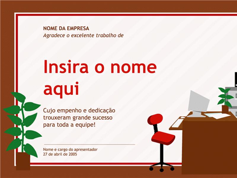 Certificado para profissional administrativo