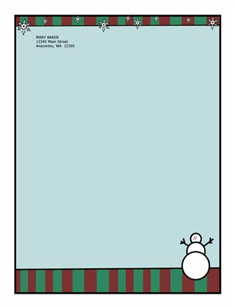 Papel de carta para datas festivas (com boneco de neve)