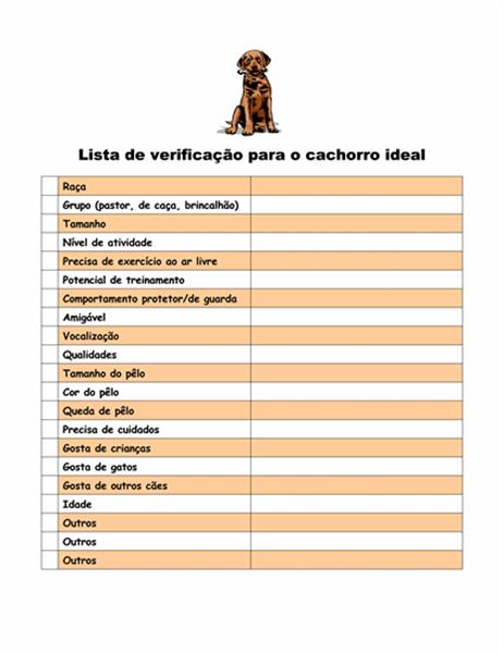 Lista de verificação para escolher o cachorro ideal