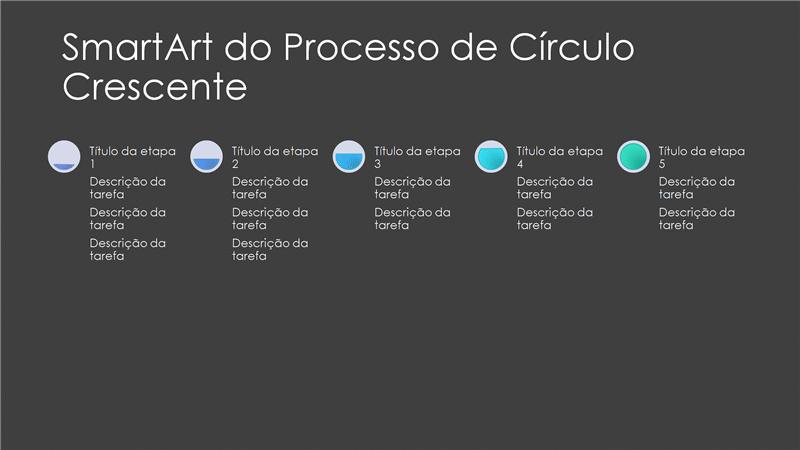 Slide SmartArt do Processo de Círculo Crescente (cinza e azul em preto), widescreen