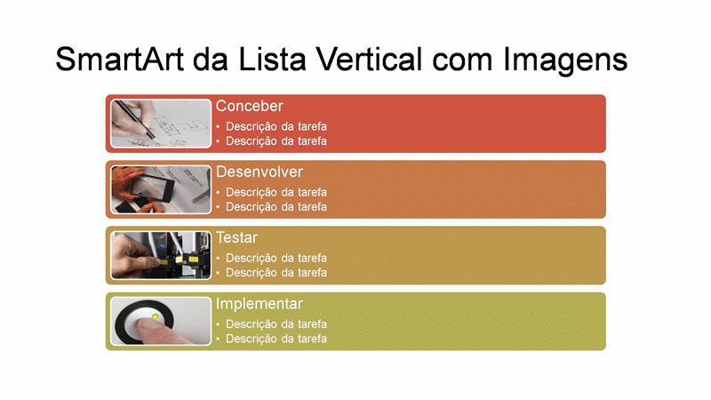 Slide SmartArt da Lista Vertical com Imagens (multicor em branco), widescreen