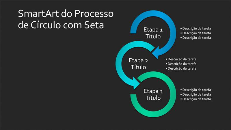 Slide SmartArt do Processo de Círculo com Seta (verde azulado em preto), widescreen