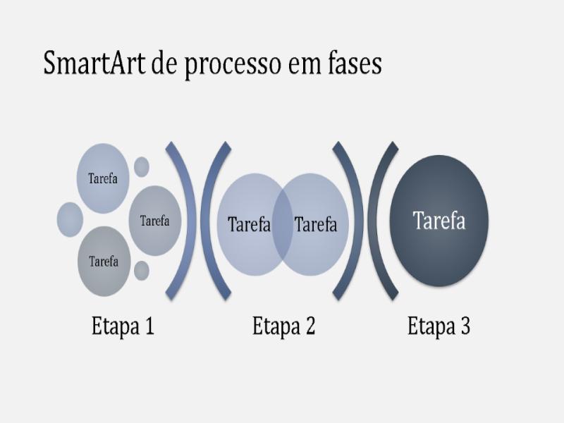 SmartArt de processo em fases (azul-claro/escuro), widescreen
