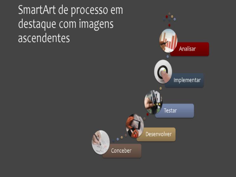 SmartArt de processo em destaque com imagens ascendentes (multicor sobre fundo cinza), widescreen