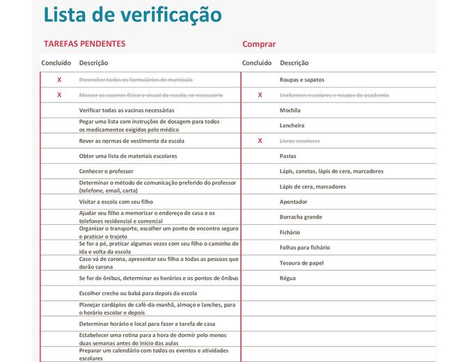 Lista de verificação de volta às aulas