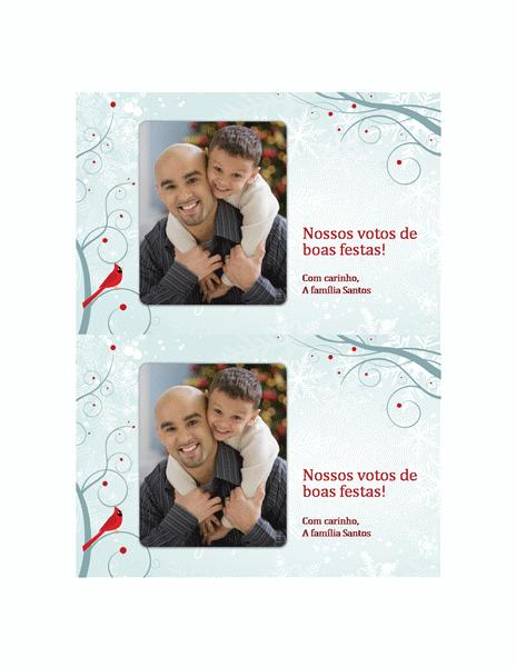 Cartão de férias com foto (design de flocos de neve)