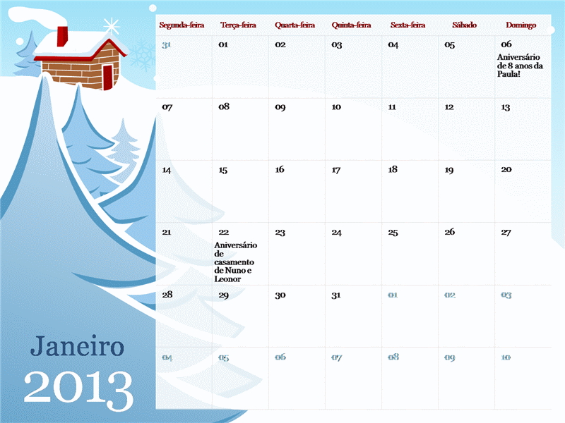 Calendário ilustrado de estações do ano - 2013, segunda a domingo