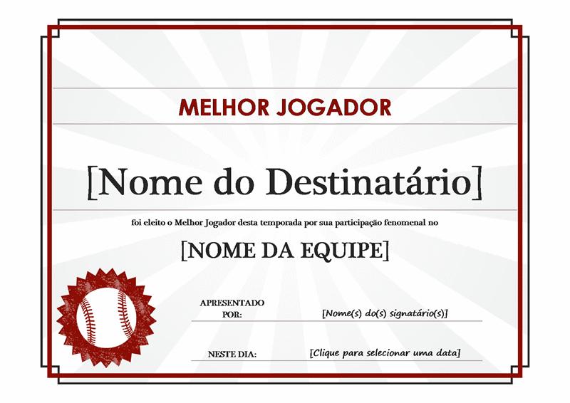 Certificado de melhor jogador
