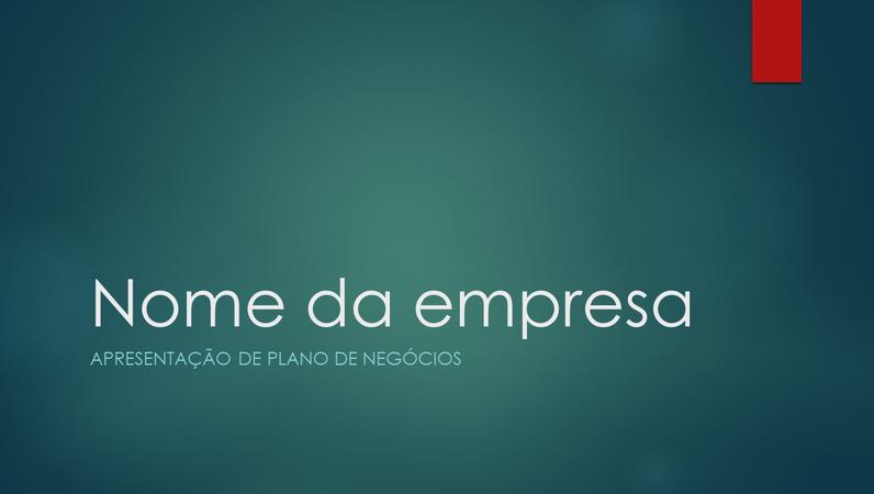 Apresentação do plano de negócios (design íon verde, widescreen)