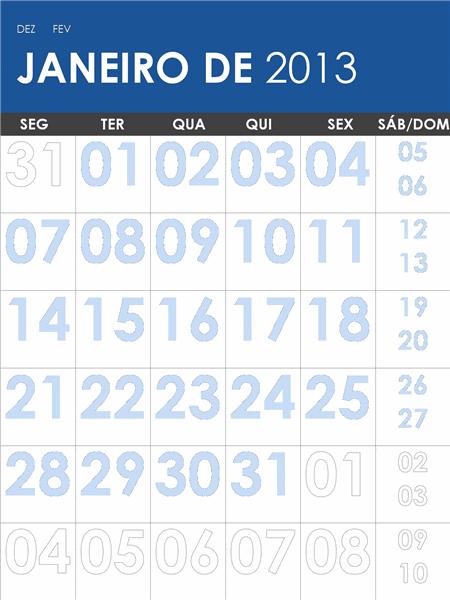 Calendário 2013-2014 multicor (S-D)
