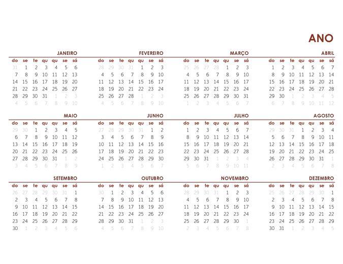 Calendário global de ano inteiro