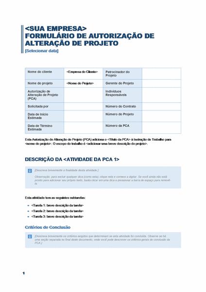Formulário de Autorização de Alteração de Projeto