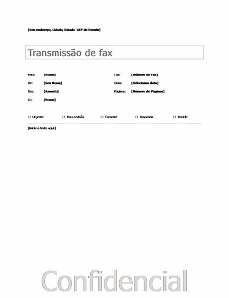 Folha de rosto básica de fax