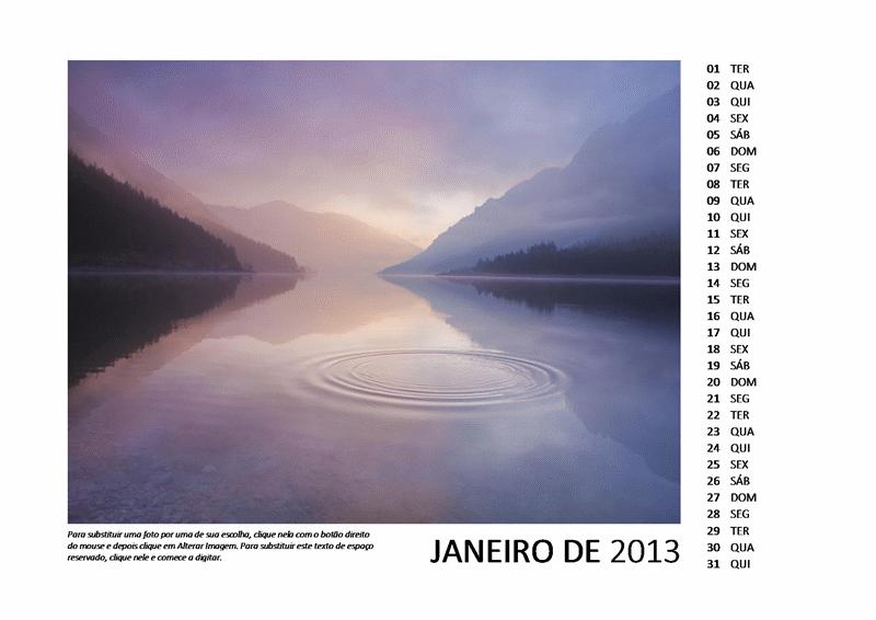 Calendário fotográfico de 2013 com 12 meses
